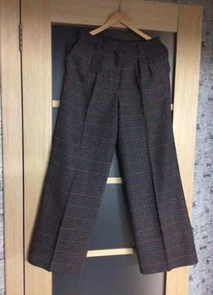 Широкие брюки в клетку (бесплатная доставка)