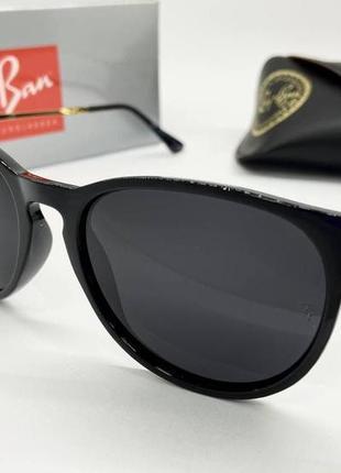 Ray ban очки женские солнцезащитные черные кругляшки с поляризацией
