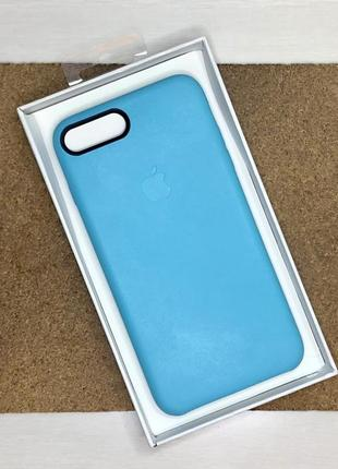 Чехол кожаный голубой на для айфон iphone 8 + плюс plus оригинальный