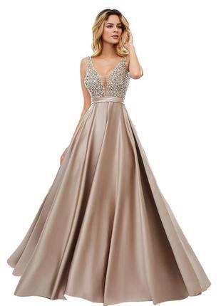 Атласне вечірнє плаття