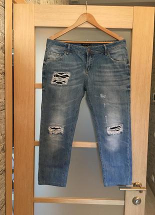 Голубые рваные джинсы бойфренды (бесплатная доставка)