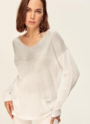 Женский свитер белый с серебристым принтом milla размер l-xl, турция