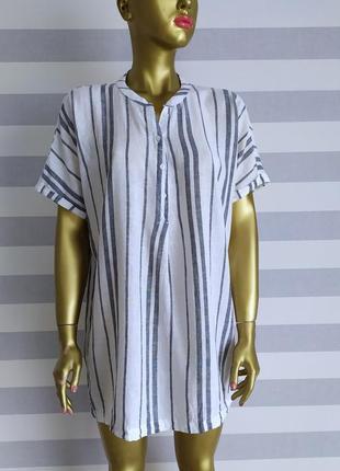 Льняная рубашка туника удлиненная рубашка esmara