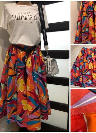 Стильная яркая пышная юбка