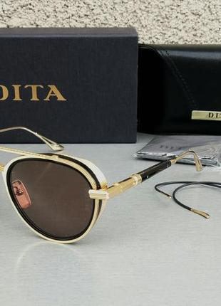 Dita epiluxury очки унисекс солнцезащитные коричневые в золоте со сменными дужками