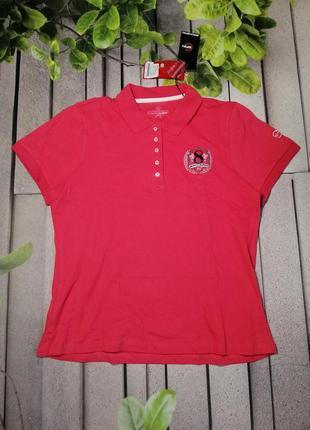 Яркая женская футболка поло вышивка ткань хлопок
