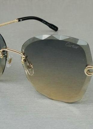 Cartier женские солнцезащитные очки безоправные сине бежевый градиент