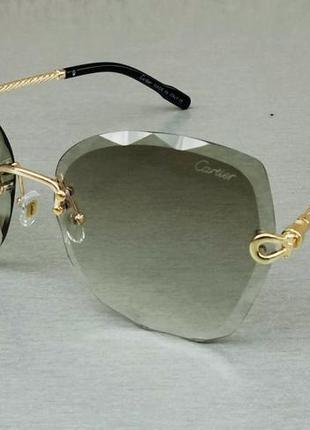 Cartier очки женские солнцезащитные безоправные зеленые с градиентом