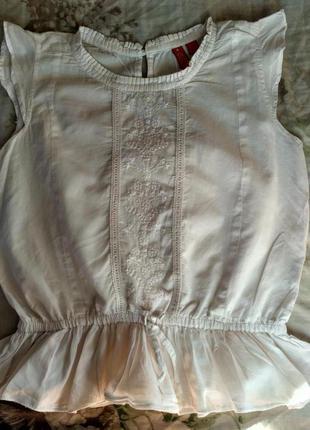 Натуральная белоснежная туничка на девочку  6 лет с вышивкой