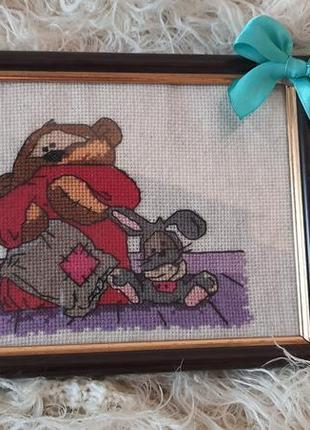 Картина детская, декор, подарок вышивка крестом медвежонок и заяц.