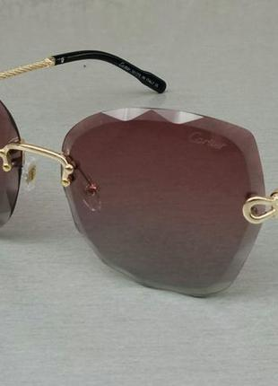 Cartier очки женские солнцезащитные безоправные бордово зеленый градиент