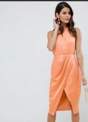 Платье-сарафан asos с разрезом шикарного персикового цвета