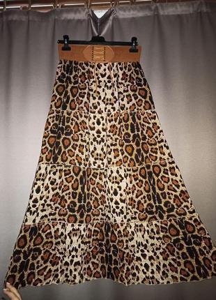 Шикарная длинная леопардовая юбка onesize 42, 44, 46, 48 m-xl