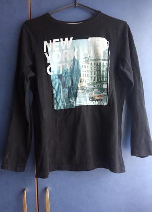 Черная кофта с принтом нью-йорк