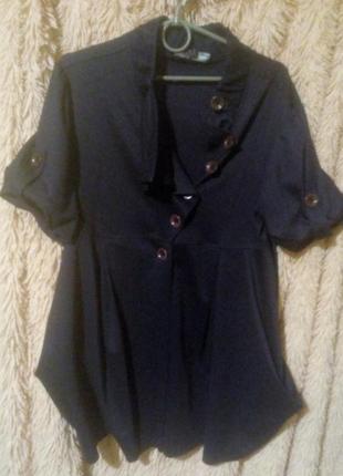 Стильный базовый трикотажный пиджачок доя пышных дам