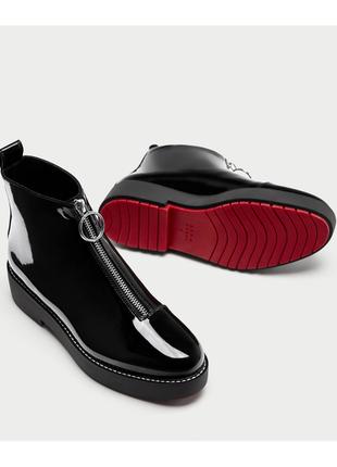 Лакированные лаковые сапоги сапожки на замке спереди челси ботинки броги зара zara