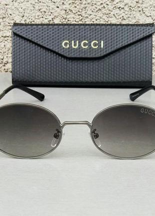 Gucci очки унисекс солнцезащитные овальные узкие стильные серые