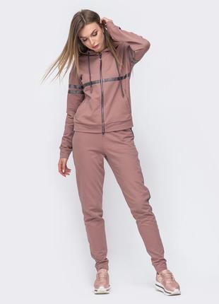 Разные цвета! костюм спортивный стильный бежевый пудра штаны кофта лампасы