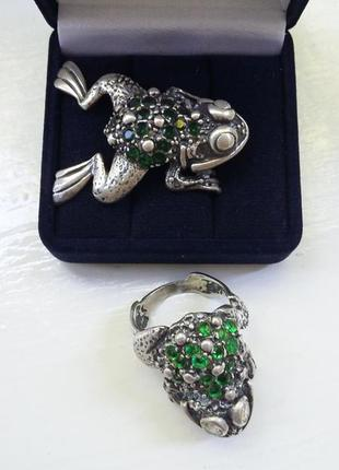 Оригинальная подвеска кулон в виде жабы лягушки серебряная 925