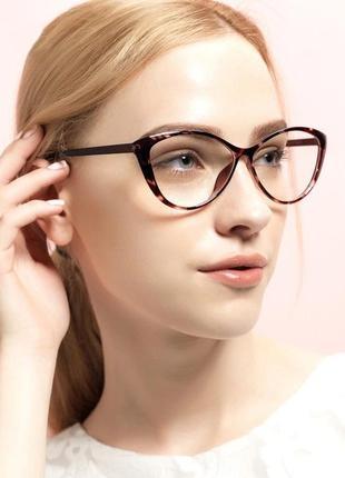 Классные очки кошечки для чтения с экрана антиблик прозрачные лисички окуляри