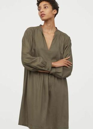 Платье оверсайз/длинный рукав /оливковое/хаки