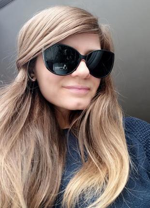 Новые модные очки лисички (линза с поляризацией) черные матовые