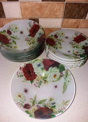 Набір обідній скляні тарілки