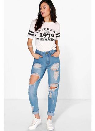 Крутые mom рваные джинсы с дырками высокая талия topshop moto iskandar