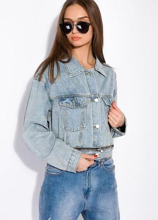 Женская  джинсовая куртка со вставкой на молнии