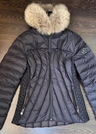 Пуховик/куртка philipp plein короткая капюшон/мех, карманы размер m