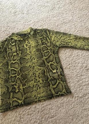Неоновый кроп топ с змеиным принтом блуза сеточка