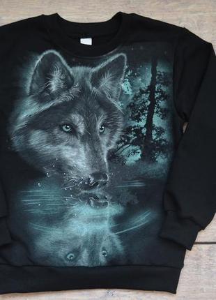 """✅крутячий джемпер со светящимся рисунком """"волк отражение"""""""