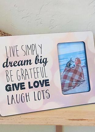 Рамка для фото live simply dream big be grateful give... 30х20 см (rmf_21a011)