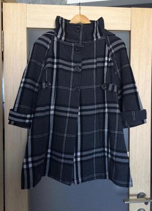 Серое пальто в клетку с капюшоном (бесплатная доставка)
