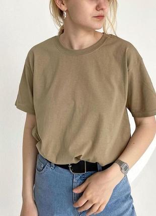Базовая оверсайз футболка 100% хлопок унисекс🤎