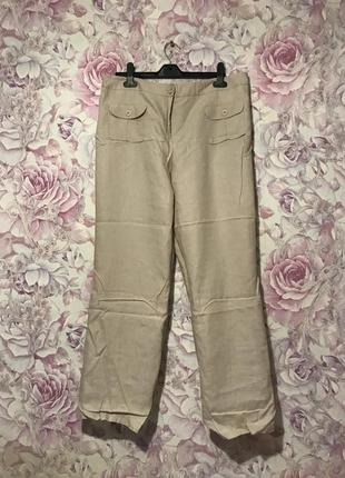 Бежевые брюки 100% лён marks spencer 16 xxl
