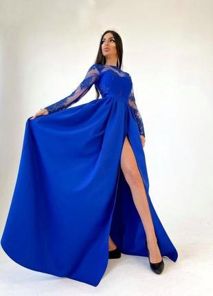 Платье макси с кружевным верхом и разрезом на юбке синее