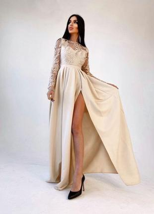 Платье макси с кружевным верхом и разрезом на юбке белое