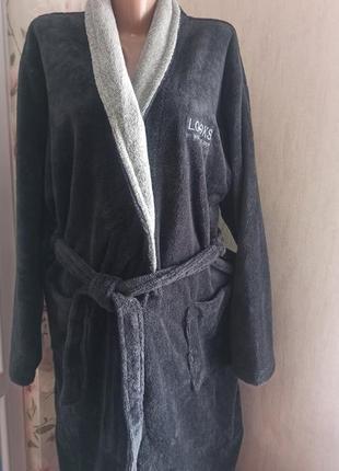 Домашний банный махровый мужской халат looks германия р.l 52-54