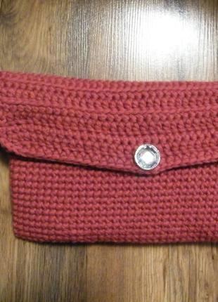 Женская элегантная вязаная сумочка, сумка ручная работа, вязаный клатч