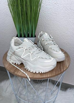 ⚡️бежеві кросівочки з рефлективними вставками