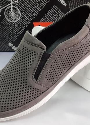 Летние ортопедические туфли из нубука серые detta 40-45р.