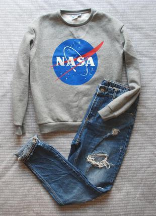 Свитшот серый меланж nasa теплый джемпер толстовка свитер с принтом купить цена