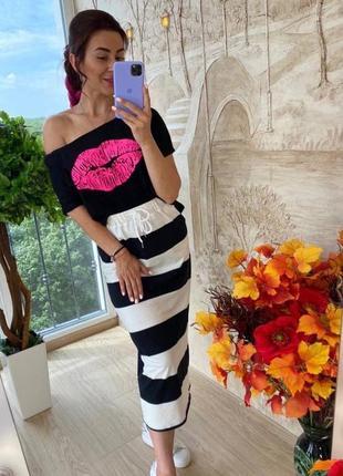 Восхитительный костюм kiss, р. m,l, качественный трикотаж, черный+белый