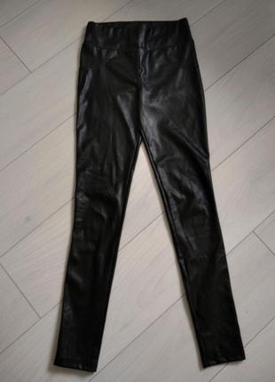 Кожаные штаны на высокой талии кожаные леггинсы кожаные лосины эко-кожа