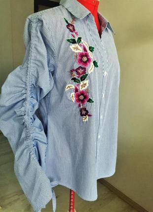 Рубашка-вышиванка с v-вырезом и рукавами на кулиске ( мелкая полоска) l