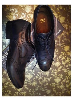Натуральные туфли кожаные весение ботинки 42,5-43 ботінки туфлі