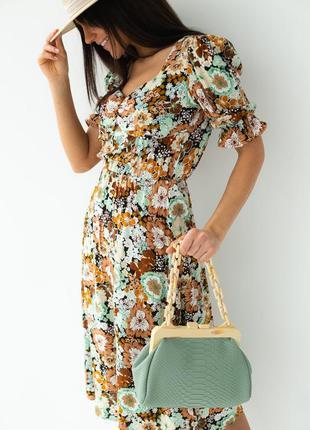 Модное цветочное платье-миди с короткими рукавами разные расцветки