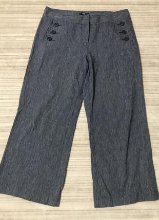 Суперские брюки  в мелкий рубчик хлопок лён