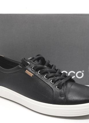 Стильные  кожаные черные кеды кроссовки мокасины ecco soft7 полуботинки оригинал
